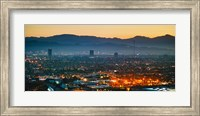 Buildings in a city, Miracle Mile, Hollywood, Griffith Park Observatory, Los Angeles, California, USA Fine Art Print