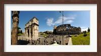 Historic Coliseum and Arch of Constantine, Rome, Lazio, Italy Fine Art Print
