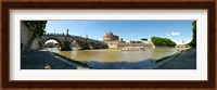 Bridge across a river with mausoleum in the background, Tiber River, Ponte Sant'Angelo, Castel Sant'Angelo, Rome, Lazio, Italy Fine Art Print