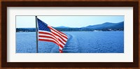 Flag and view from the Minne Ha Ha Steamboat, Lake George, New York State, USA Fine Art Print