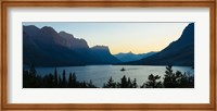 Sunset over St. Mary Lake with Wild Goose Island, US Glacier National Park, Montana, USA Fine Art Print