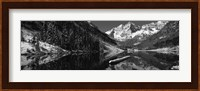 Reflection of a mountain in a lake in black and white, Maroon Bells, Aspen, Colorado Fine Art Print