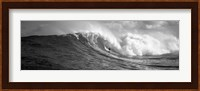 Surfer in the sea in Black and White, Maui, Hawaii Fine Art Print