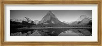 Reflection of mountains in a lake, Swiftcurrent Lake, Many Glacier, US Glacier National Park, Montana, USA (Black & White) Fine Art Print