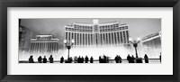 Bellagio Resort And Casino Lit Up At Night, Las Vegas (black & white) Fine Art Print
