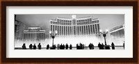 Bellagio Resort And Casino Lit Up At Night, Las Vegas (black & white) Fine Art Print