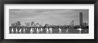 Black and white view of boats on a river by a city, Charles River,  Boston Fine Art Print