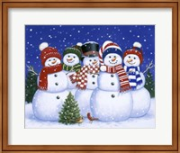 Five Snowmen Fine Art Print