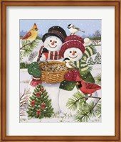 Snow Couple Feeding Birds Fine Art Print