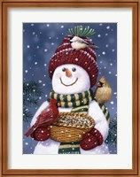 Snowman Feeding Birds Fine Art Print