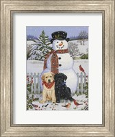 Backyard Snowman with Friends Fine Art Print