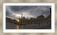Basilica in the town square at sunset, St. Peter's Basilica, St. Peter's Square, Vatican City Fine Art Print