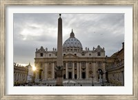 Obelisk in front of the St. Peter's Basilica at sunset, St. Peter's Square, Vatican City Fine Art Print