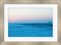 Sunset over the frozen Songhua River, Harbin, Heilungkiang Province, China Fine Art Print