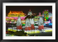 Ice buildings at the Harbin International Ice and Snow Sculpture Festival, Harbin, Heilungkiang Province, China Fine Art Print