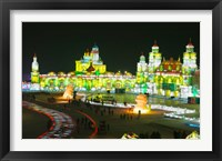 Tourists at the Harbin International Ice and Snow Sculpture Festival, Harbin, Heilungkiang Province, China Fine Art Print