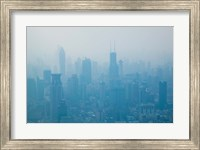 City viewed from observation deck of Jin Mao Tower, Lujiazui, Pudong, Shanghai, China Fine Art Print