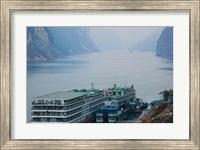 Yangtze River Cruise Ships at anchor, Yangtze River, Yichang, Hubei Province, China Fine Art Print
