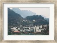 Town by Three Gorges Dam, Yangtze River, Hubei Province, China Fine Art Print