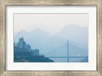 Town of Badong viewed from Wu Gorge, Yangtze River, Hubei Province, China Fine Art Print
