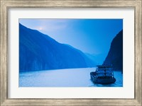 Container ship in the river at sunset, Wu Gorge, Yangtze River, Hubei Province, China Fine Art Print