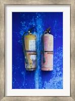 Fire extinguishers on Blue Temple wall, Mingshan, Fengdu Ghost City, Fengdu, Yangtze River, Chongqing Province, China Fine Art Print