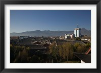 High angle view of buildings in the new town viewed from Mu Family Mansion, Lijiang, Yunnan Province, China Fine Art Print