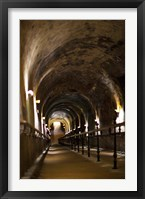 Pommery Champagne Winery passageway to ancient Gallo-Roman quarries, Reims, Marne, Champagne-Ardenne, France Fine Art Print