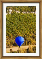 Elevated view of hot air balloon over Dordogne River Valley, Castelnaud-la-Chapelle, Dordogne, Aquitaine, France Fine Art Print