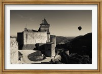 Chateau de Castelnaud with hot air balloon flying over a valley, Castelnaud-la-Chapelle, Dordogne, Aquitaine, France Fine Art Print