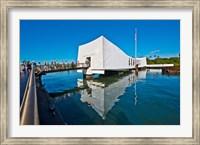 Reflection of a memorial in water, USS Arizona Memorial, Pearl Harbor, Honolulu, Hawaii, USA Fine Art Print