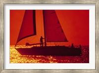Silhouette of a sailboat in a lake, Lake Michigan, Chicago, Cook County, Illinois, USA Fine Art Print