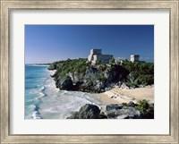 Pyramid on the seashore, El Castillo, Tulum Mayan, Quintana Roo, Mexico Fine Art Print