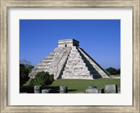 Old ruins of a pyramid,  Chichen Itza Mayan Fine Art Print