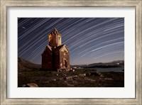 Star trails above Dzordza church, Iran Fine Art Print