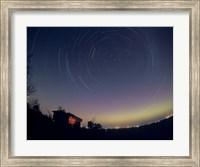 Circumpolar star trails with a faint aurora over horizon, Alberta, Canada Fine Art Print