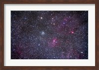 Open cluster Messier 52 and the Bubble Nebula in the constellation Cassiopeia Fine Art Print