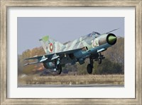 A Bulgarian Air Force MiG-21bis jet fighter taking off Fine Art Print