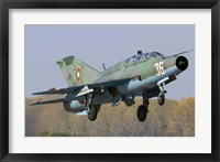 A Bulgarian Air Force MiG-21UM jet fighter taking off Fine Art Print