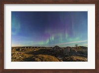 Aurora borealis over the badlands of Dinosaur Provincial Park, Canada Fine Art Print