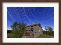 Circumpolar star trails above an old farmhouse in Alberta, Canada Fine Art Print