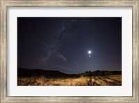 The Milky Way, the Moon, Venus and Spica after twilight in Azul, Argentina Fine Art Print