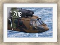 A Bulgarian Air Force Eurocopter AS532 AL Cougar over the Black Sea Fine Art Print