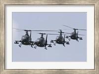 Serbian Air Force Soko SA-342L GAMA choppers in flight over Serbia Fine Art Print
