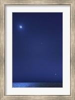 Conjunction of the moon, Jupiter, Mars and Venus Fine Art Print