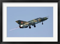 Romanian Air Force MiG-21 Lancer with afterburner, Romania Fine Art Print