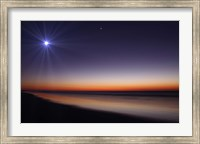 The Moon and Venus at twilight from the beach of Pinamar, Argentina Fine Art Print