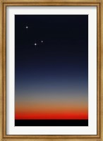 Venus, Mercury and Mars above the glowing horizon at dawn Fine Art Print