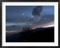 Moon and Venus conjunction above the village of Gazorkhan, Iran Fine Art Print