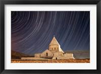 Star trails above Saint Thaddeus Monastery, Iran Fine Art Print
